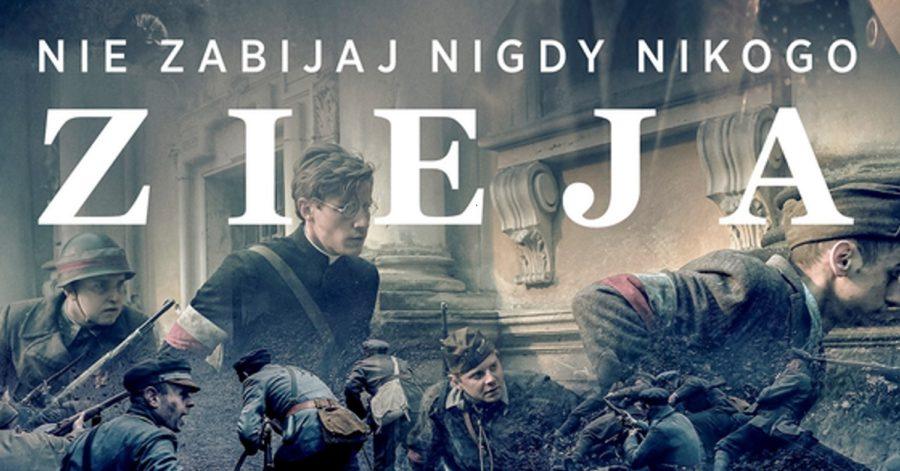 """Plakat filmowy przedstawia, przenikające się kadry filmu, na których ujęci są dwudziestowieczni żołnierze. Na górze znajduje się biały napis: Nie zabijaj nigdy nikogo, Zieja.""""."""