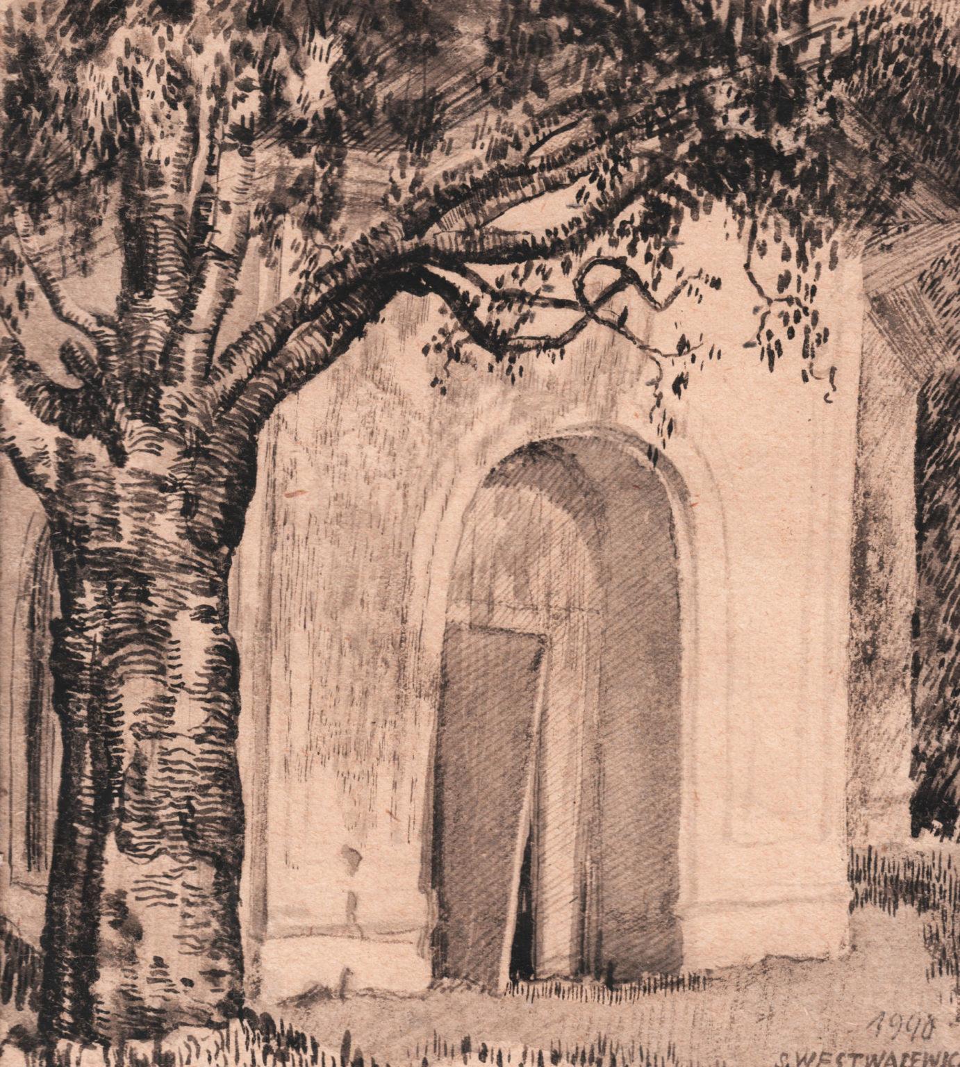Szkic przedstawia budynek z otwartymi drzwiami, obok niego znajduje się drzewo.