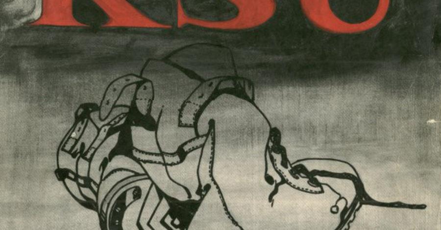 """Okładka płyty przedstawia narysowane kontury pary glanów. Nad nimi znajduje się czerwony napis: """"KSU""""."""