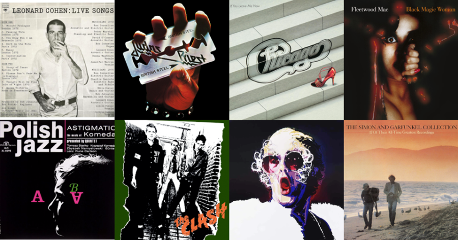 Grafika przedstawia okładki uznanych albumów muzycznych.