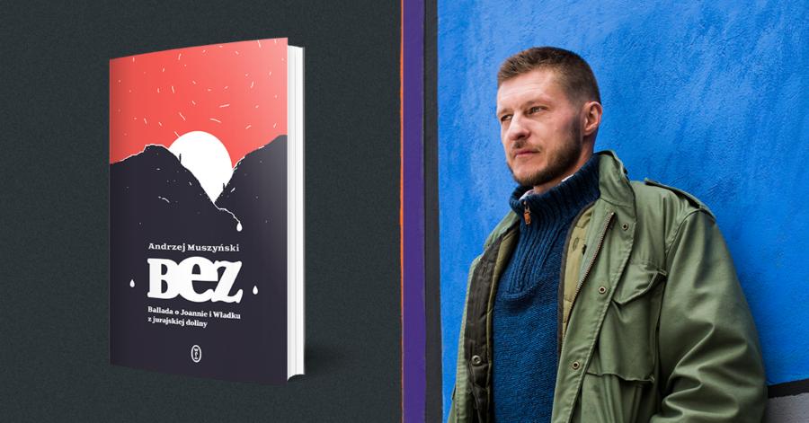Dwie grafiki zestawione obok siebie. Po lewej: okładka książki przedstawia góry, za które zachodzi słonce, na tle czerwonego gwieździstego nieba. Po prawej stronie, znajduje się zdjęcie mężczyzny opartego o ścianę.