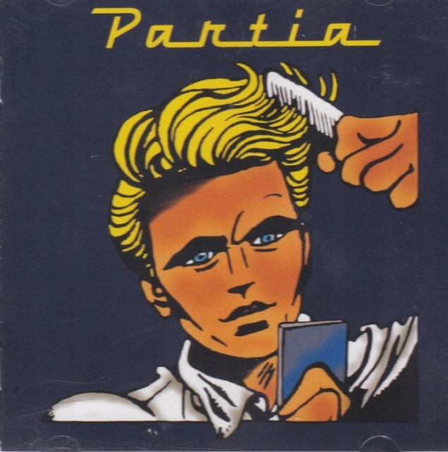 """Okładka płyty w komiksowym stylu, przedstawia mężczyznę, który czesze swoje włosy grzebieniem, w drugiej dłoni trzyma lusterko, w którym się przegląda. Nad nim znajduje się napis: """"Partia""""."""