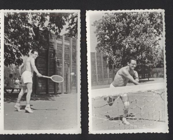 Dwie fotografie ustawione obok siebie, przedstawiają Leopolda Tyrmanda podczas gry w tenisa.