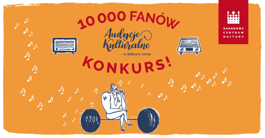 Komiksowa grafika z informacją o konkursie z okazji 10000 fanów Audycji Kulturalnych