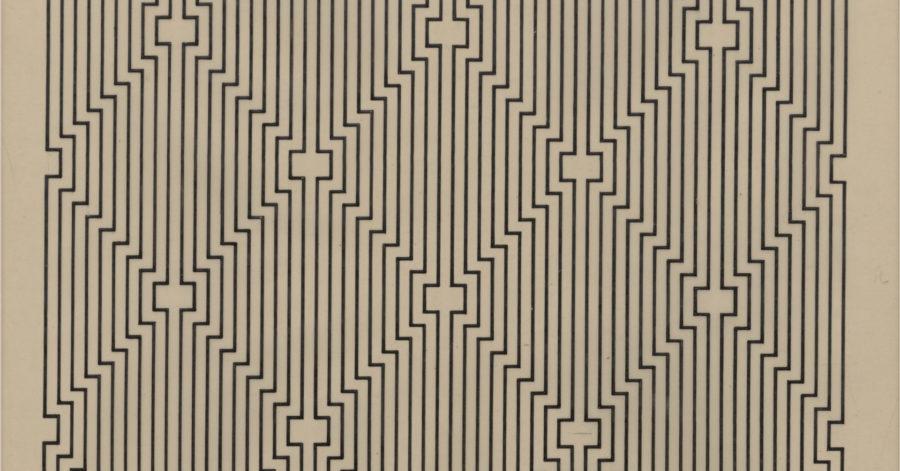 Rysunek składający się z jednej linii, która zmienia kierunek pod kątem prostym. Dzieło wywołuje złudzenie optyczne.