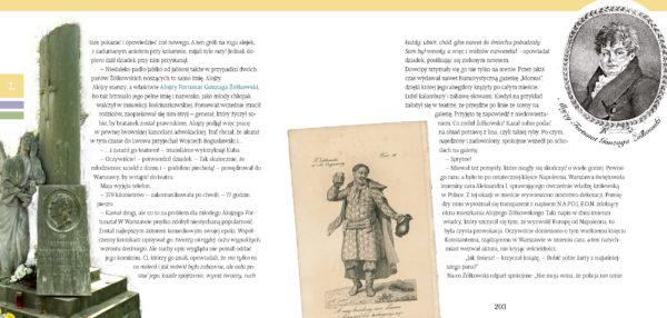 Tekst opatrzony zdjęciem nagrobka o kształcie kolumny, oraz dwoma ilustracjami – sylwetką mężczyzny i jego portretem.