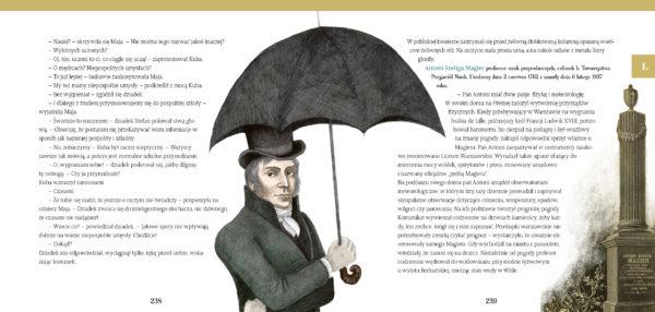 Zilustrowany elegancki mężczyzna trzyma w ręce parasolkę, na głowie ma cylinder. Umieszczony jest między kolumnami tekstu, po prawej stronie zdjęcie nagrobka w kształcie obelisku.
