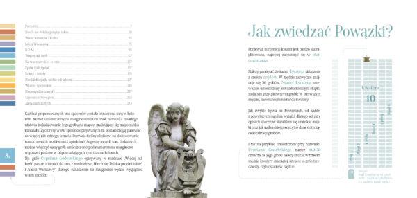"""Po lewej stronie znajduje się spis treści, po prawej tekst """"Jak zwiedzać Powązki"""" opatrzony ilustracją."""
