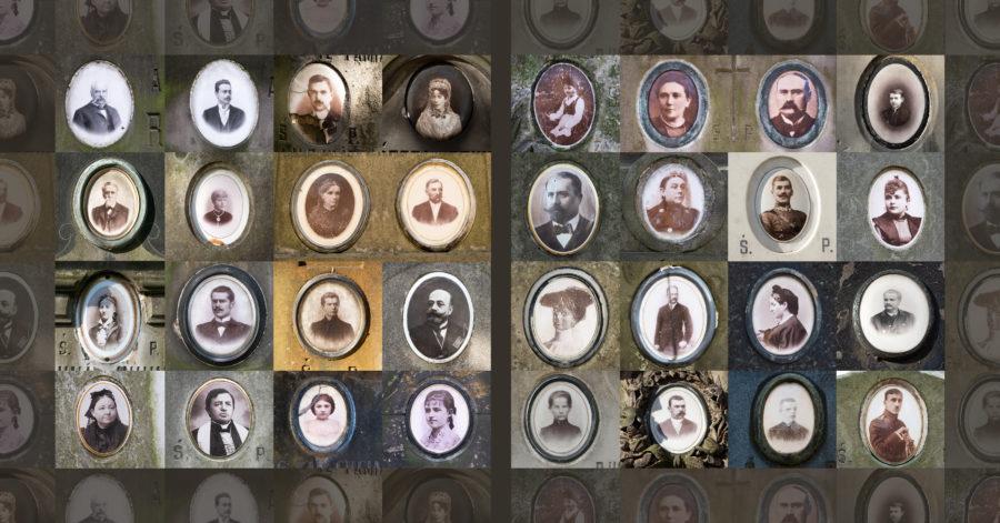 Kolarz stworzony ze zdjęć portretów na nagrobkach.