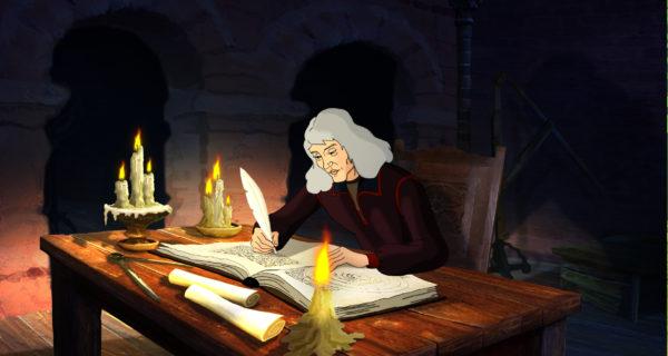 Uczony zapisuje coś piórem w dużym zeszycie, siedzi przy stole, oświetlonym jedynie kilkoma świecami.
