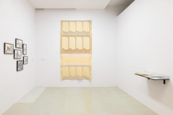 Fragment ekspozycji, w jasnym pomieszczeniu na frontowej ścianie wiszą puste papirusy. Na lewej ścianie znajdują się szkice w czarnych ramkach, na prawej – szklana gablota z kartkami papieru.