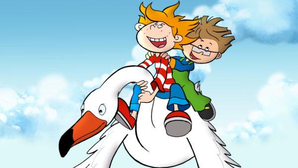 Dwóch chłopców leci na dużym białym ptaku.