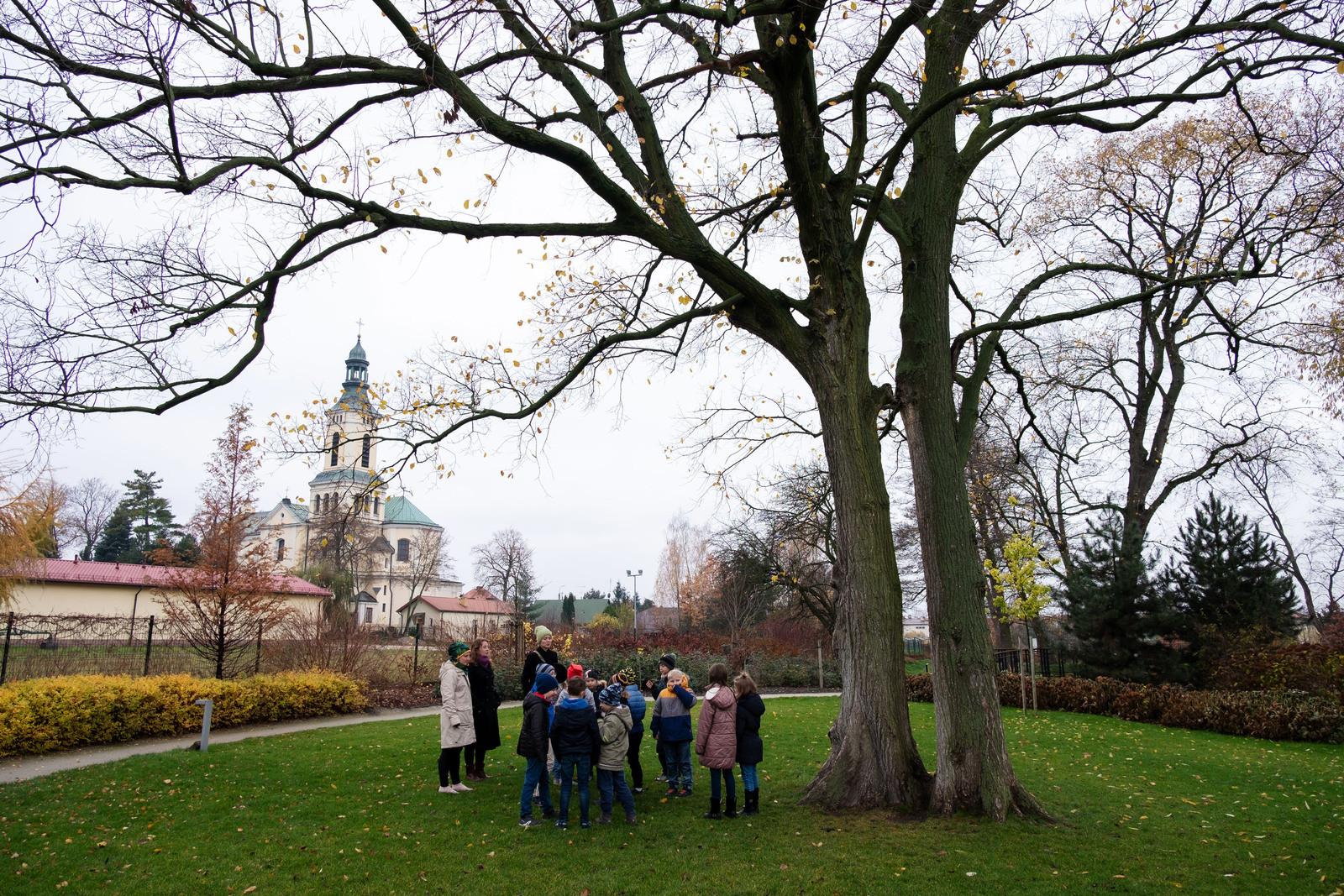 Grupa dzieci jest oprowadza po parku, przez trzy kobiety.