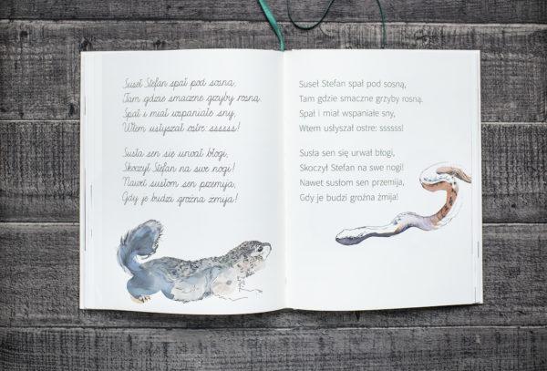 Fragment elementarza, w którym znajdują się krótkie teksty, a pod nimi - namalowane zwierzęta.