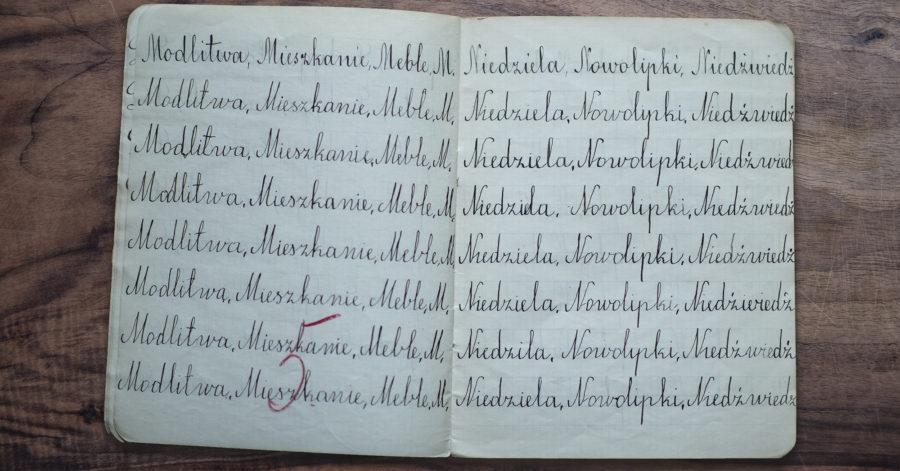 """Otwarty zeszyt, w którym w każdej linijce zapisane są takie same wyrazy - ćwiczenie kaligrafii. Na dole strony znajduje się ocena: """"pięć"""", zapisana czerwonym długopisem."""