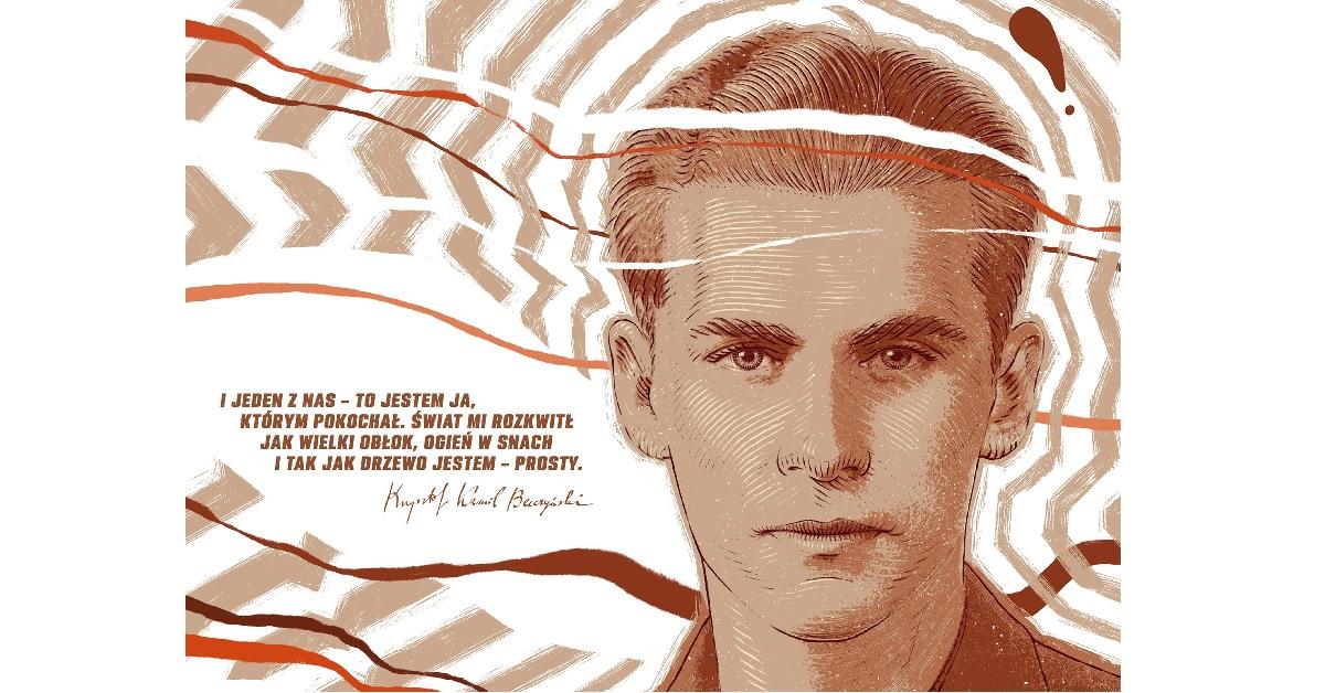 Grafika przedstawia młodego mężczyznę, obok niego znajduje się cytat.