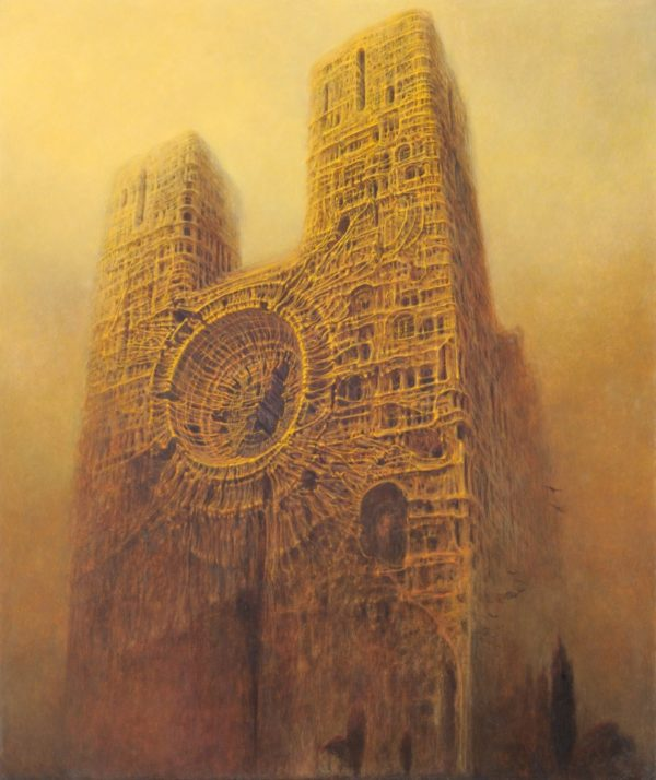 Stara zniszczona katedra w trakcie burzy piaskowej.
