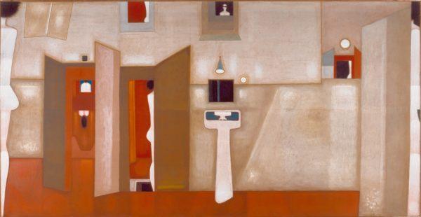 Obraz o miękkich, ciepłych barwach przedstawia wnętrze pokoju.