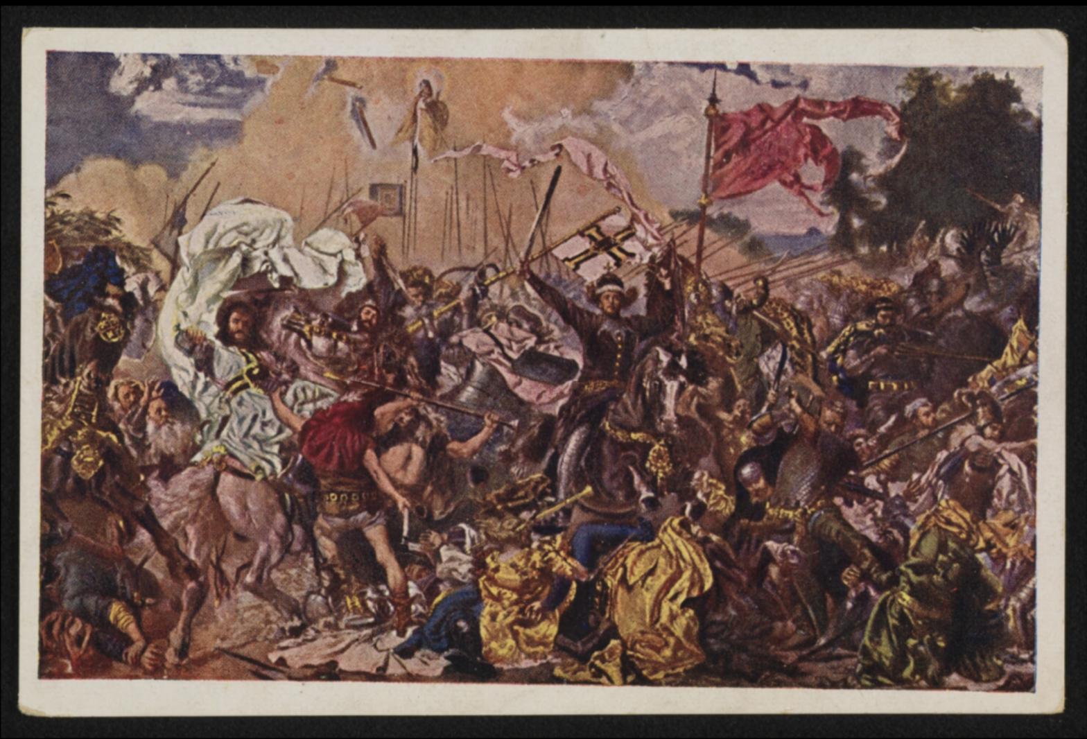 Obraz przedstawiający średniowieczną batalię.