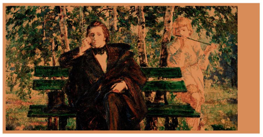 Elegancko ubrany mężczyzna rozmyśla na ławce. Za nim znajduje się dziewczynka, która gra na flecie poprzecznym.
