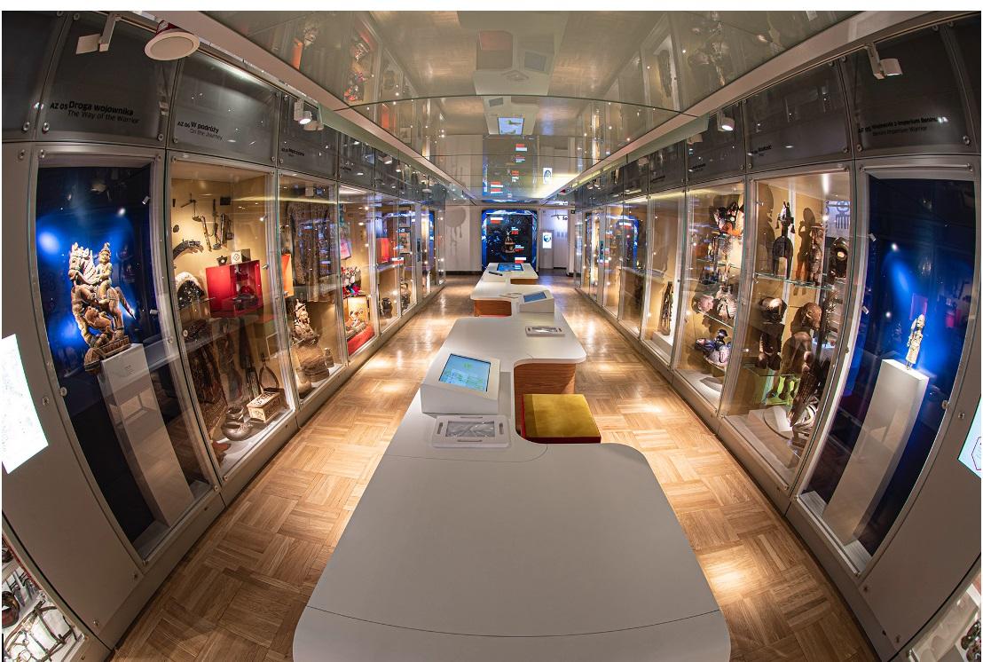 Podłużne pomieszczenie w muzeum. Na dłuższych, przeciwległych ścianach znajdują się gabloty z eksponatami, a po środku przez całe pomieszczenie biegnie stół.